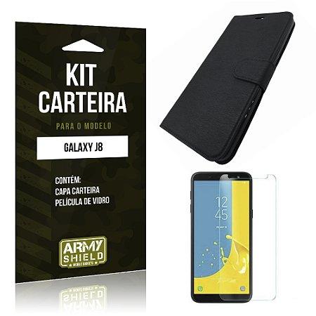 Kit Capa Carteira Galaxy J8 Capa Carteira + Película - Armyshield
