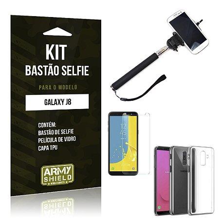 Kit Bastão Selfie Galaxy J8 Bastão + Película + Capa - Armyshield
