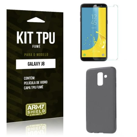 Kit Capa Fumê Galaxy J8 Película + Capa Fumê - Armyshield