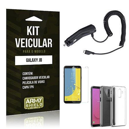 Kit Carregador Veicular Galaxy J8 Carregador + Película + Capa - Armyshield
