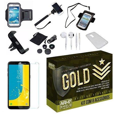 Kit Gold Galaxy J8 com 8 Acessórios - Armyshield