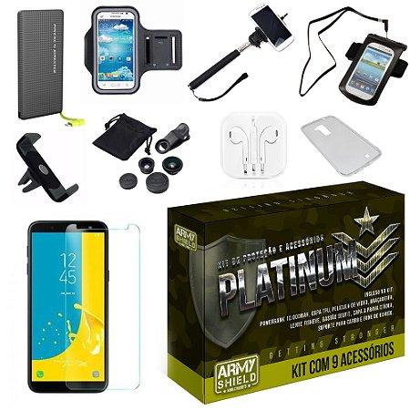 Kit Platinum Galaxy J8 com 9 Acessórios - Armyshield