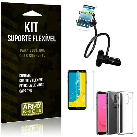 Kit Suporte Flexível Galaxy J8 Suporte + Película + Capa - Armyshield