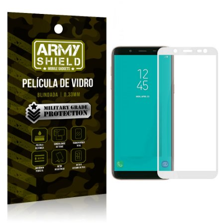 Película de Vidro Cobre a Tela Toda Samsung Galaxy J8 Premium - Branco - Armyshield