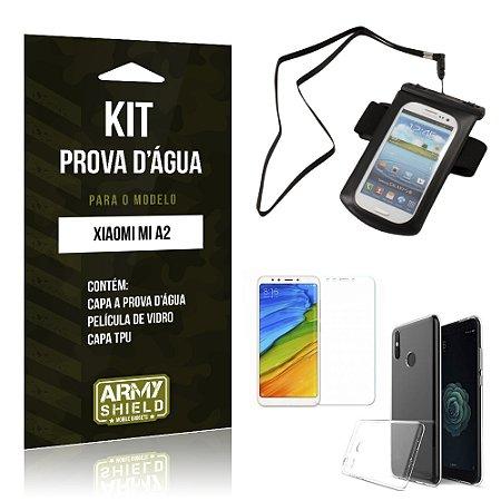 Kit Capa à Prova D'água Xiaomi Mi A2  Prova Dágua + Película + Capa - Armyshield