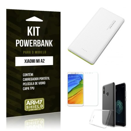 Kit Powerbank Xiaomi Mi A2  Powerbank + Película + Capa - Armyshield