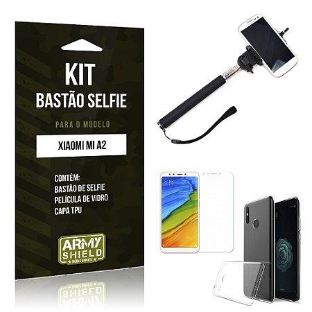 Kit Bastão Selfie Xiaomi Mi A2  Bastão + Película + Capa - Armyshield