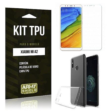 Kit Capa Silicone Xiaomi Mi A2  Película + Capa - Armyshield