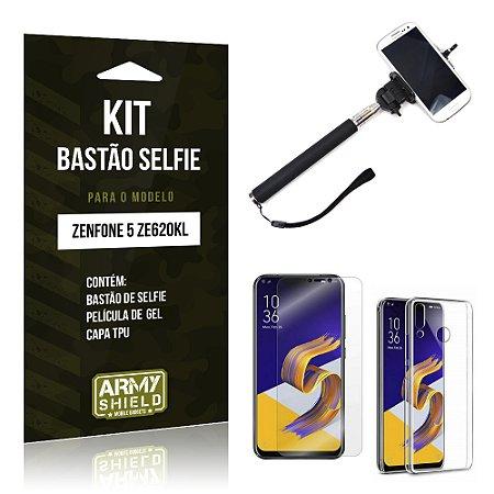 Kit Bastão Selfie Zenfone 5 ZE620KL  Bastão + Película + Capa - Armyshield