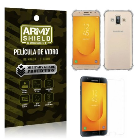 Kit Capa Anti Shock + Película Vidro Samsung Galaxy J7 Duo - Armyshield