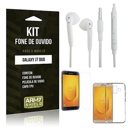Kit Fone de Ouvido Samsung Galaxy J7 Duo  Fone + Película + Capa - Armyshield