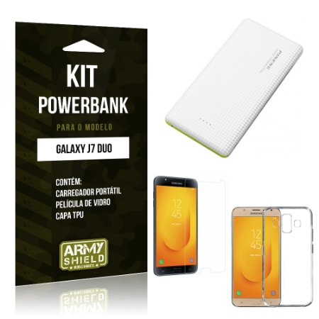 Kit Powerbank Samsung Galaxy J7 Duo  Powerbank + Película + Capa - Armyshield