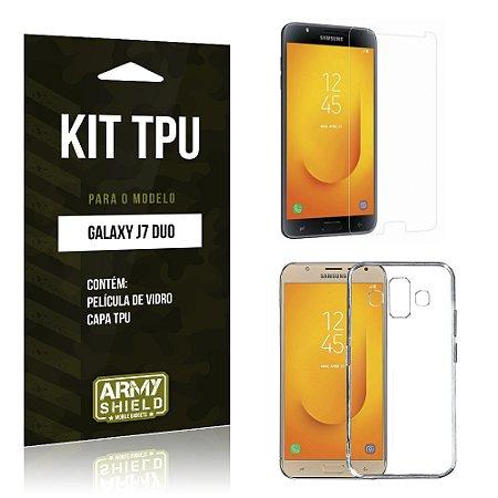Kit Capa Silicone Samsung Galaxy J7 Duo  Película + Capa - Armyshield