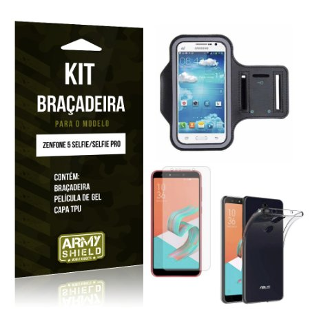 Kit Braçadeira Zenfone 5 Selfie - Selfie Pro ZC600KL  Braçadeira + Película + Capa - Armyshield