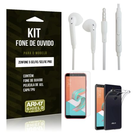 Kit Fone de Ouvido Zenfone 5 Selfie - Selfie Pro ZC600KL  Fone + Película + Capa - Armyshield