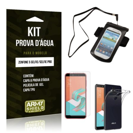 Kit Capa à Prova D'água Zenfone 5 Selfie - Selfie Pro ZC600KL  Prova Dágua + Película + Capa - Armyshield