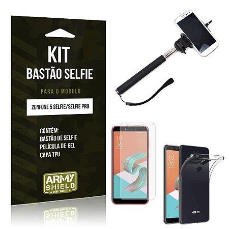 Kit Bastão Selfie Zenfone 5 Selfie - Selfie Pro ZC600KL  Bastão + Película + Capa - Armyshield