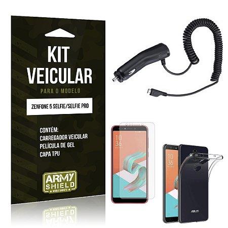 Kit Carregador Veicular Zenfone 5 Selfie - Selfie Pro ZC600KL  Carregador + Película + Capa - Armyshield