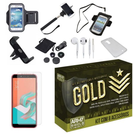 Kit Gold Zenfone 5 Selfie - Selfie Pro ZC600KL  com 8 Acessórios - Armyshield