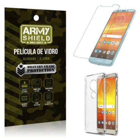 Kit Capa Anti Shock + Película Vidro Motorola Moto E5 Plus - Armyshield