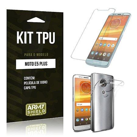 Kit Capa Silicone Motorola Moto E5 Plus  Película + Capa - Armyshield