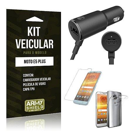 Kit Carregador Veicular Motorola Moto E5 Plus  Carregador + Película + Capa - Armyshield