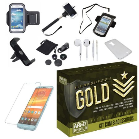 Kit Gold Motorola Moto E5 Plus  com 8 Acessórios - Armyshield