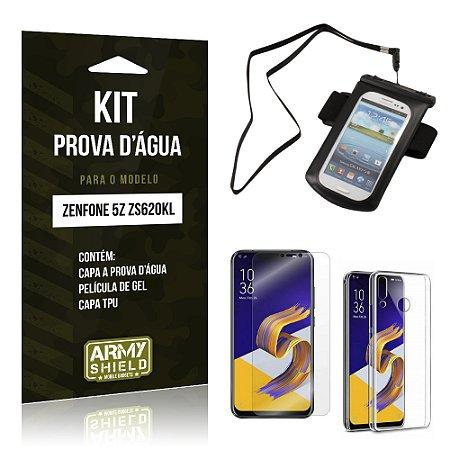 Kit Capa à Prova D'água Zenfone 5Z ZS620KL  Prova Dágua + Película + Capa - Armyshield