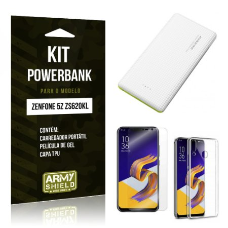 Kit Powerbank Tipo C Zenfone 5Z ZS620KL  Powerbank + Película + Capa - Armyshield