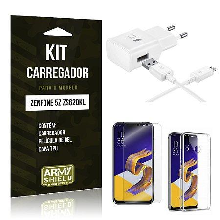 Kit Carregador Tipo C Zenfone 5Z ZS620KL  Carregador + Película + Capa - Armyshield