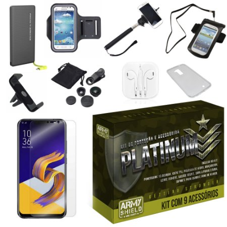 Kit Platinum Tipo C Zenfone 5Z ZS620KL  com 9 Acessórios - Armyshield