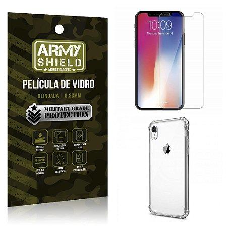 Kit Capa Anti Shock + Película Vidro Apple iPhone XR 6.1 - Armyshield