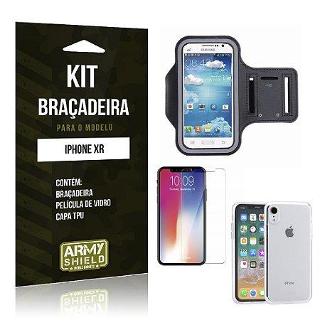 Kit Braçadeira Apple iPhone XR 6.1 Braçadeira + Película + Capa - Armyshield