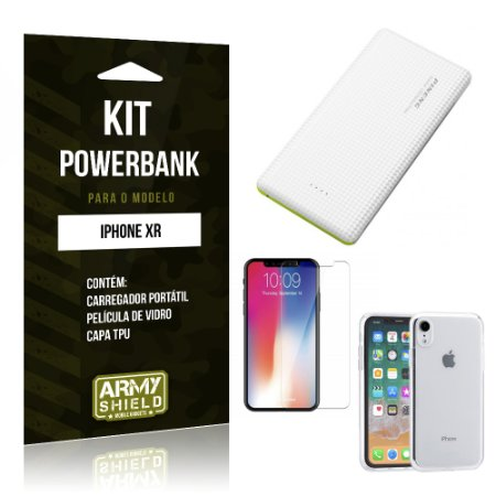 Kit Powerbank Apple iPhone XR 6.1 Powerbank + Película + Capa - Armyshield