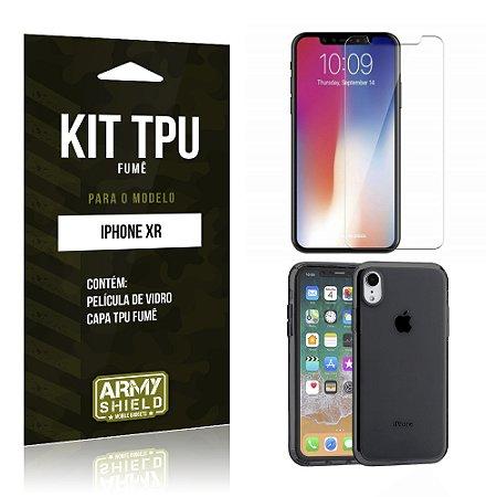 Kit Capa Fumê Apple iPhone XR 6.1 Película + Capa Fumê - Armyshield