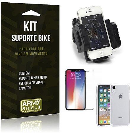 Kit Suporte Moto Bike Apple iPhone XR 6.1 Suporte + Película + Capa - Armyshield