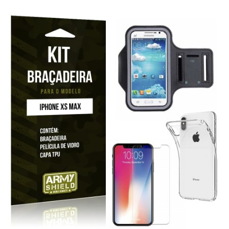Kit Braçadeira Apple iPhone XS Max 6.5 Braçadeira + Película + Capa - Armyshield