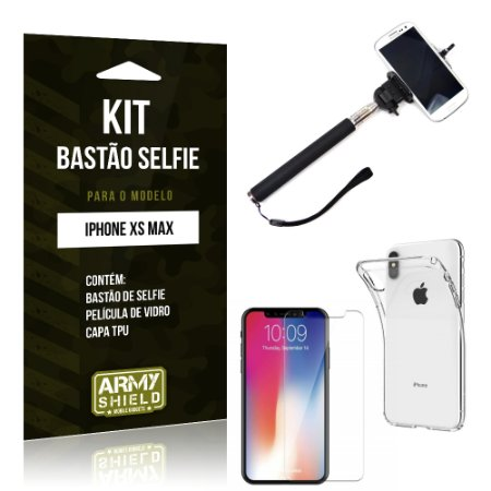 Kit Bastão Selfie Apple iPhone XS Max 6.5 Bastão + Película + Capa - Armyshield
