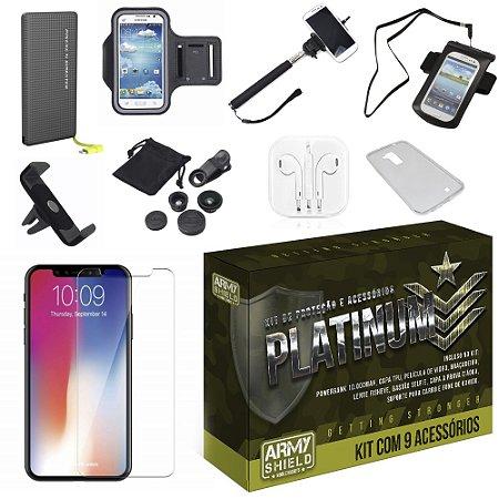 Kit Platinum Apple iPhone XS Max 6.5 com 9 Acessórios - Armyshield