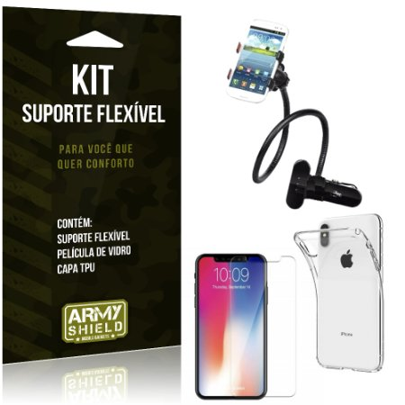 Kit Suporte Flexível Apple iPhone XS Max 6.5 Suporte + Película + Capa - Armyshield