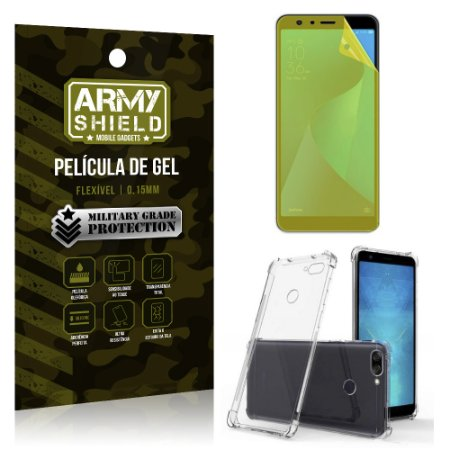 Kit Capa Anti Shock + Película Gel Zenfone Max Plus M1 ZB570TL - Armyshield