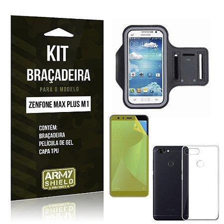 Kit Braçadeira Zenfone Max Plus M1 ZB570TL Braçadeira + Película + Capa - Armyshield
