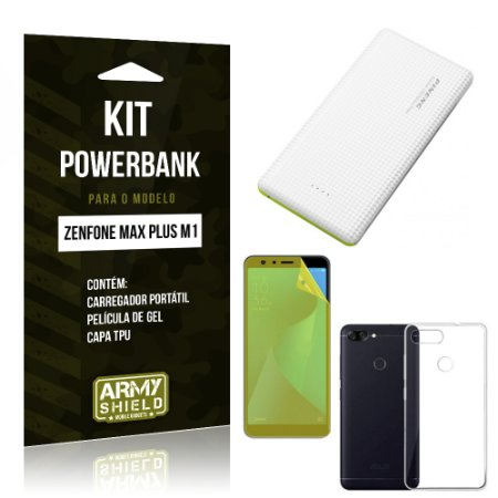 Kit Powerbank Zenfone Max Plus M1 ZB570TL Powerbank + Película + Capa - Armyshield
