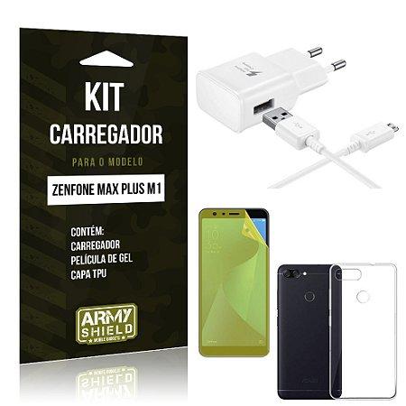 Kit Carregador Zenfone Max Plus M1 ZB570TL Carregador + Película + Capa - Armyshield