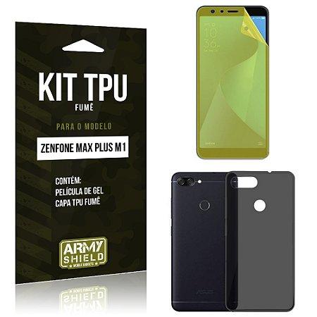 Kit Capa Fumê Zenfone Max Plus M1 ZB570TL Película + Capa Fumê - Armyshield