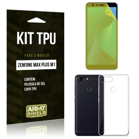 Kit Capa Silicone Zenfone Max Plus M1 ZB570TL Película + Capa - Armyshield