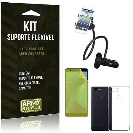 Kit Suporte Flexível Zenfone Max Plus M1 ZB570TL Suporte + Película + Capa - Armyshield