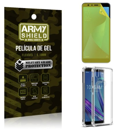 Kit Capa Anti Shock + Película Gel Zenfone Max Pro M1 ZB602KL - Armyshield
