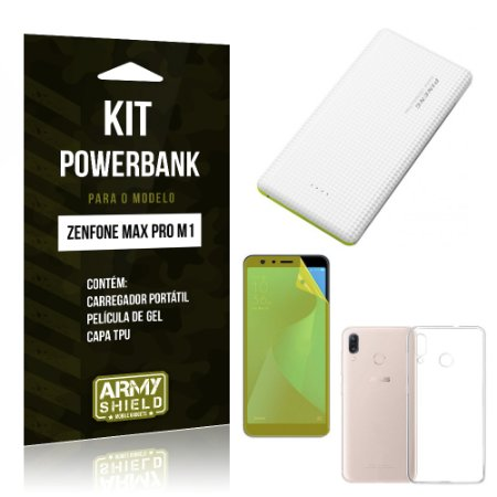 Kit Powerbank Zenfone Max Pro M1 ZB602KL Powerbank + Película + Capa - Armyshield