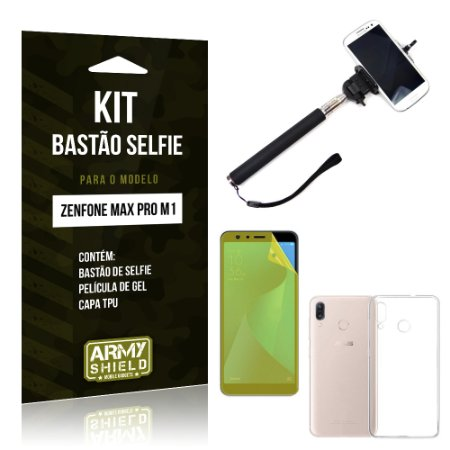 Kit Bastão Selfie Zenfone Max Pro M1 ZB602KL Bastão + Película + Capa - Armyshield